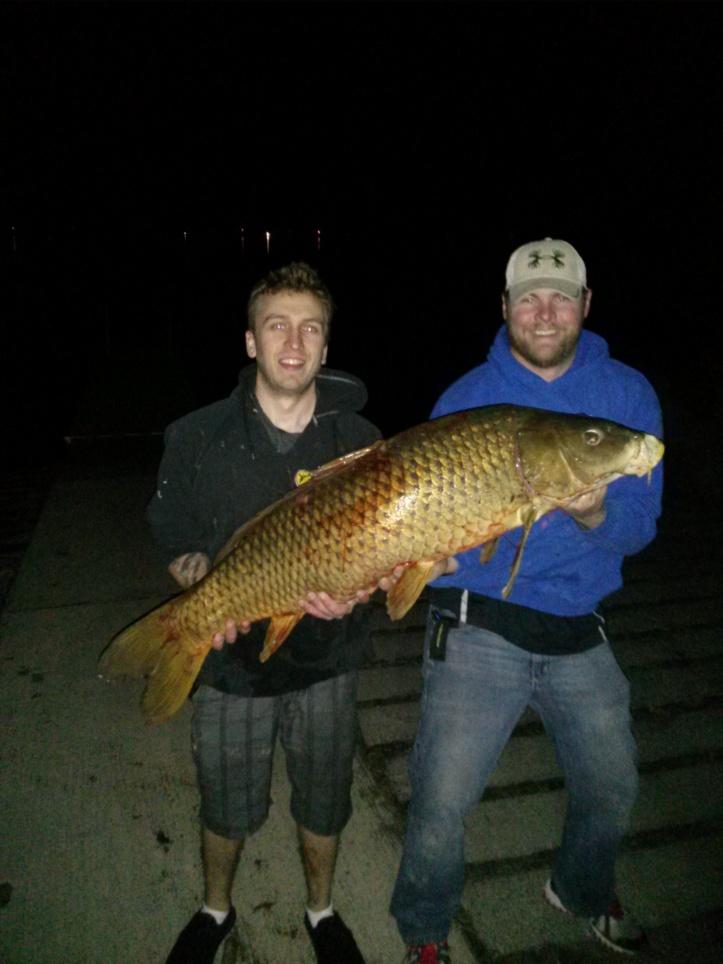 Jeremy Lewerenz and Matt Kargas with giant carp!
