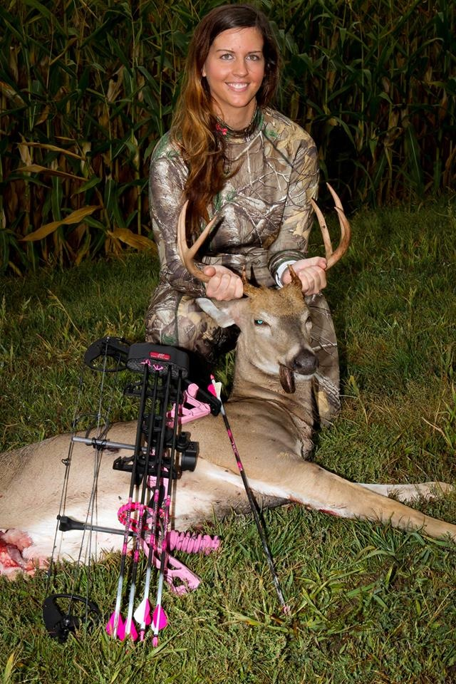 Sheri Tusa with her first deer!  And taken on the 4th day of the bow season, congrats!