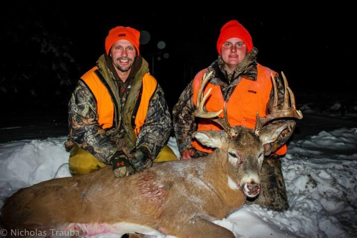 Nick Trauba with a 2013 Muzzleloader buck.  With Dave Trauba.