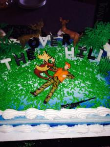 Donny Newman's birthday cake after he was attacked by a moose!
