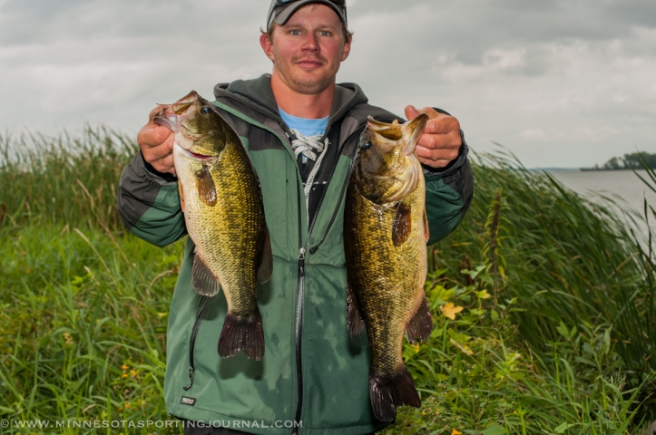 Tyler Winkka with some Cass Lake largemouths
