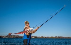 Mandy Uhrich casts a giant muskie bait