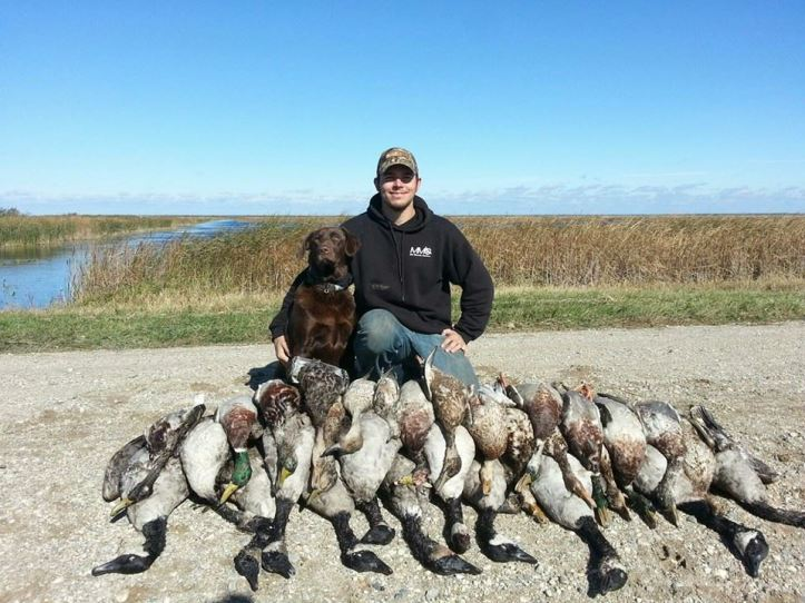 "Tony Crotty's ""Nahla"" had a good day with his group, making over 30 cold water  retrieves-some of them on big geese!"