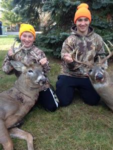 Joe Rivard's two boys with two great bucks!
