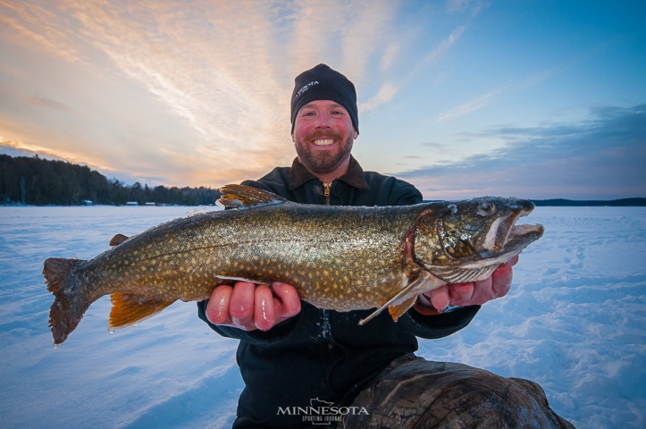 Bret Amundson with a Ely-area Lake Trout.  Caught with Ben Putnam of Ely Ice Guides
