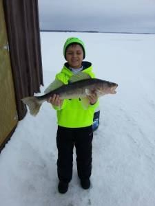Jakob, ice fishing, walleye