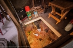 """Ice Fishing Diorama complete with a 30 pound pike mount.  """"I had to cut the tail off to get the fish down there and the inside is solid oak."""""""