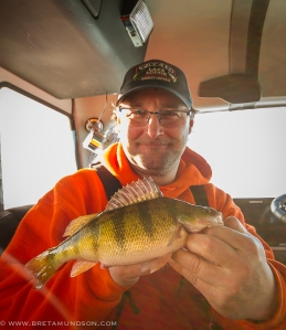 Trevor Montgomery with his first Devils Lake perch.