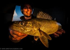 Tony Crotty with a Devils Lake walleye (Bret Amundson/SJR)